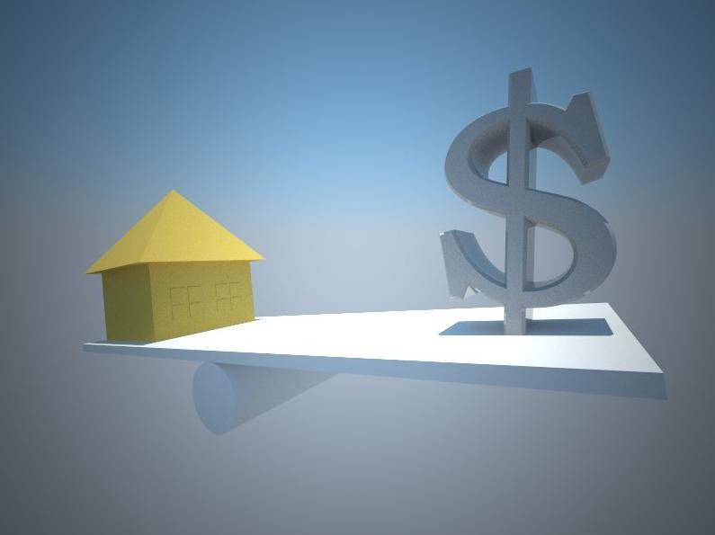 Jämvikt mellan hus och dollartecken
